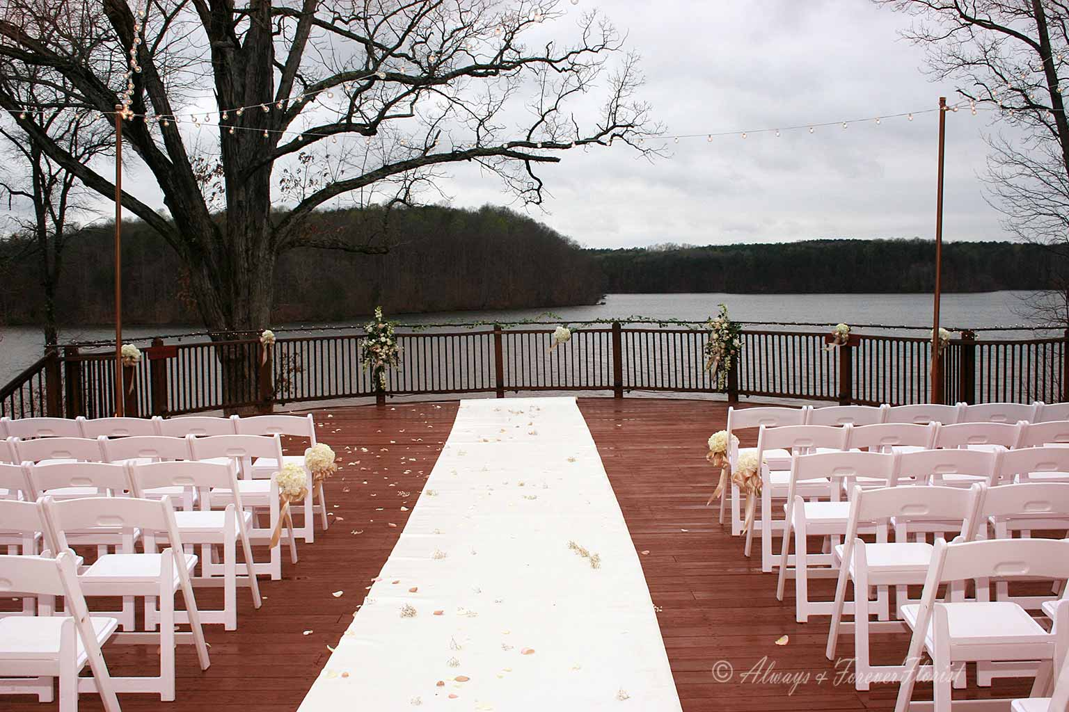 Rainy day wedding on the Bella Collina deck