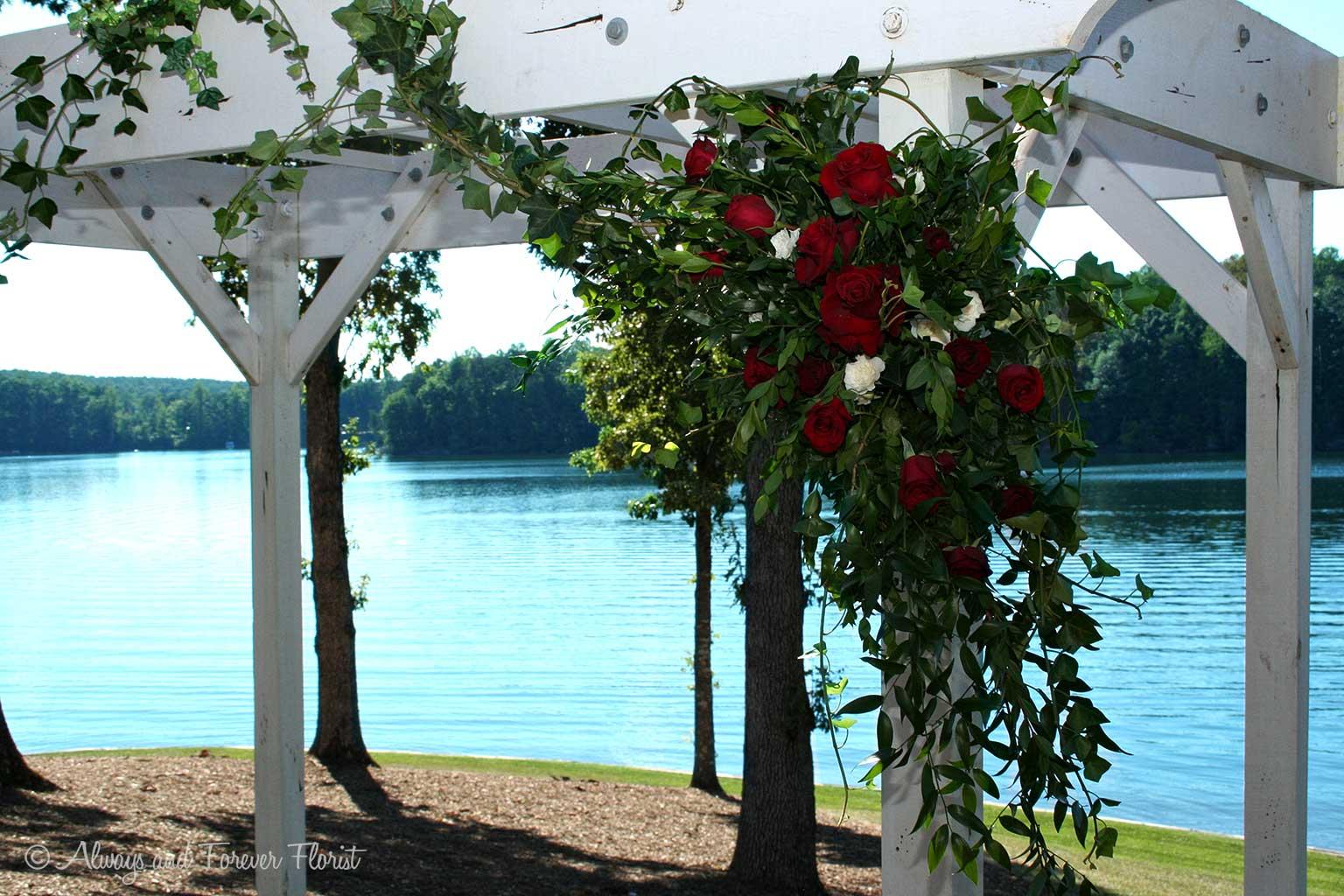 Red Rose Wedding Arch Spray