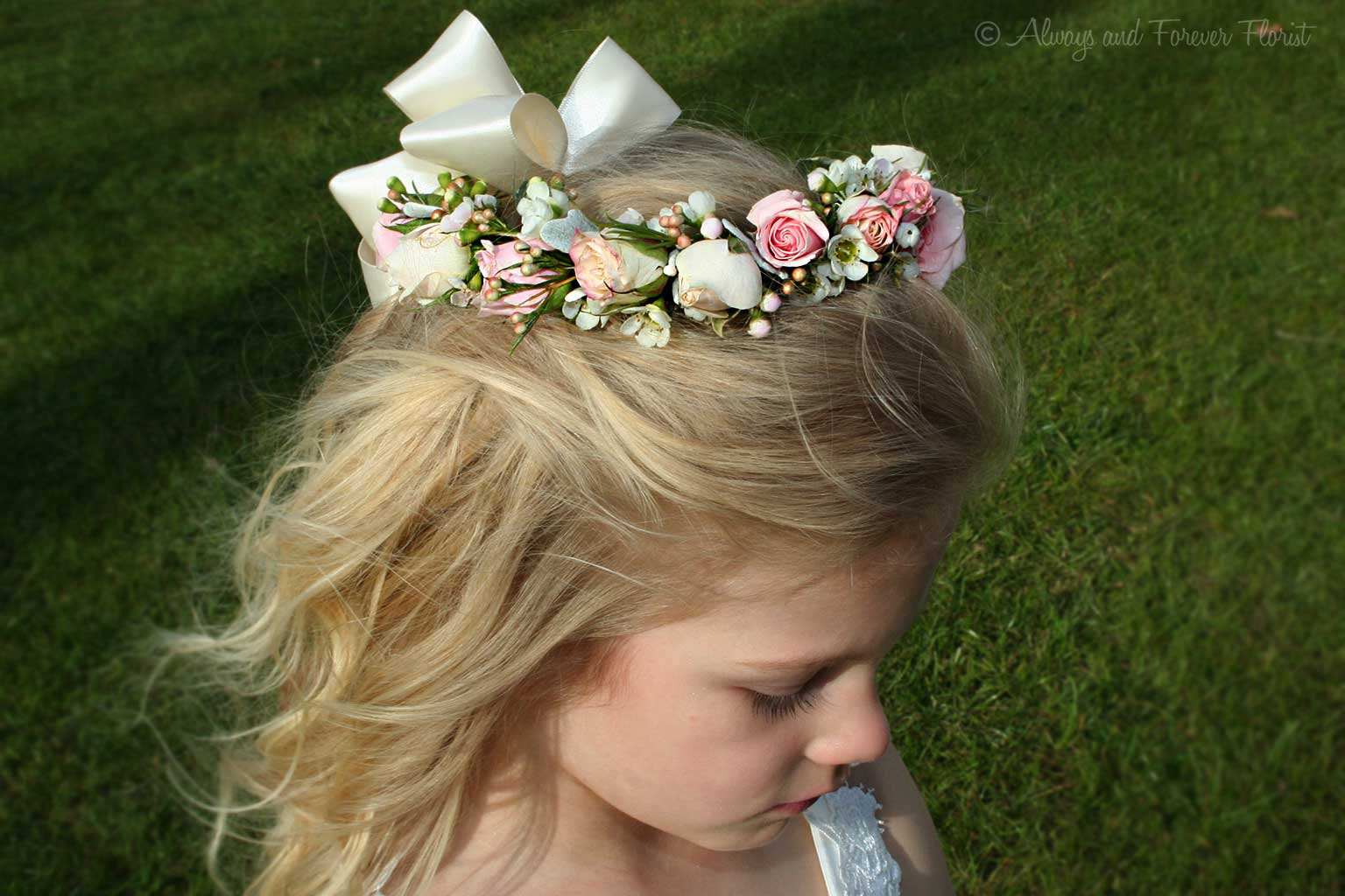 Matching hair adornment for flower girl