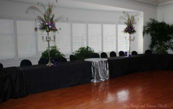 Bridal party table arrangements